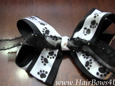 Black and White Dog Paw Prints Hair Bow Double Layered- video demo
