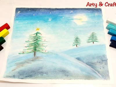 Christmas Tree in Snow Drawing.Moonlight Landscape Painting.Winter Snow Painting for Beginner