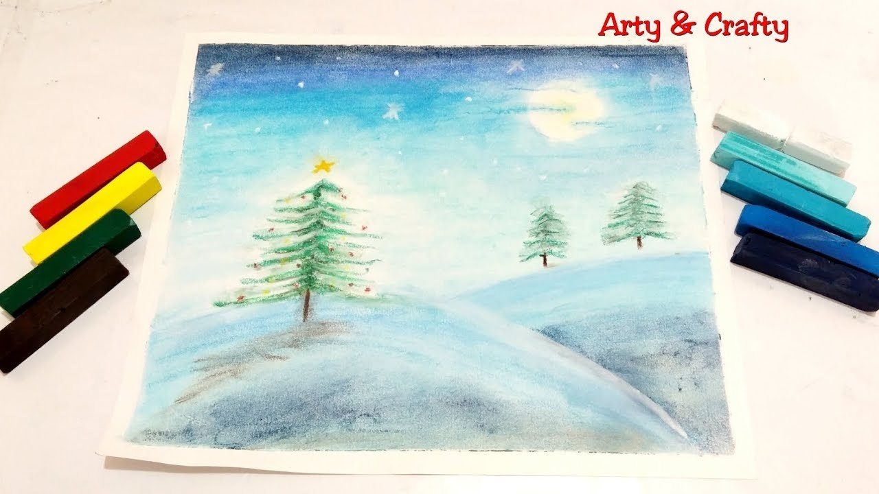 sketch of christmas tree christmas tree in snow drawing moonlight landscape 7384