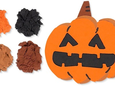 DIY Kinetic Sand Halloween Pumpkin Learn Colors for Kids