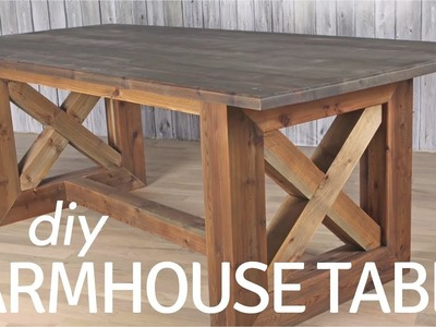 DIY Rustic Farmhouse Table. Weathered and Aged Finish