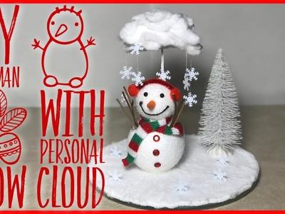 DIY Snowman With Personal Snow Cloud Winter. Christmas Centerpiece - Dollar Tree DIY Decor Ideas