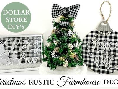 Dollar Store DIY's ~ Rustic Christmas Farmhouse Decor ~ Black & White Buffalo Check Theme!