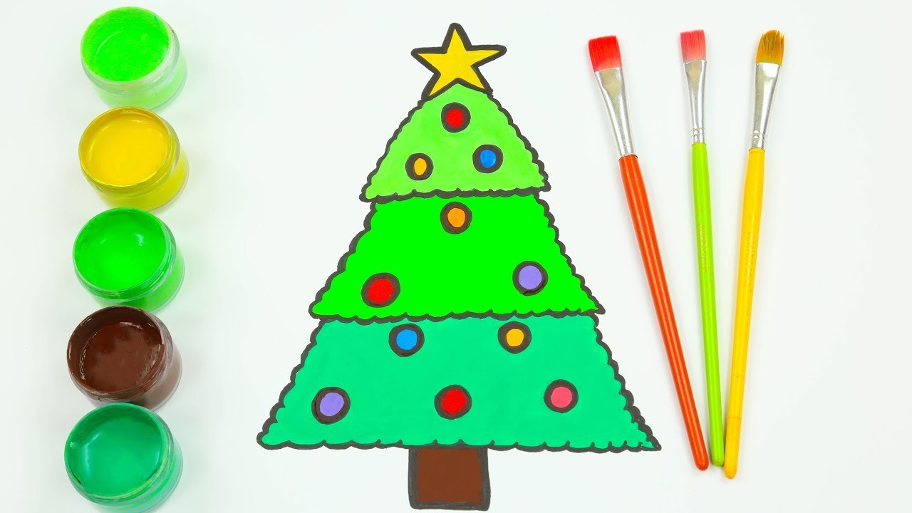 Drawing Christmas Tree Drawing And Learn Colors For Kids And