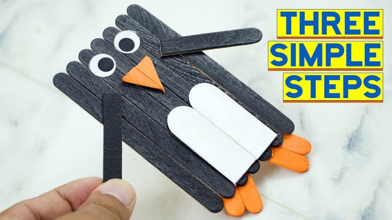 Easy Popsicle Stick Penguin Ice Cream Stick Craft