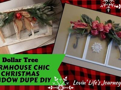 Farmhouse Chic Dollar Tree DIY Christmas Joy Window Decor Dupe