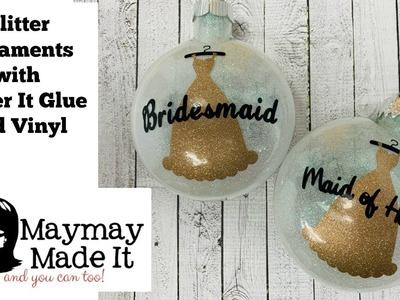 Glitter Ornaments Using Glitter It Adhesive and Vinyl