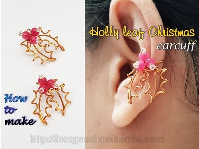 Holly leaf Christmas earcuff - Idea for Christmas from copper wire 440