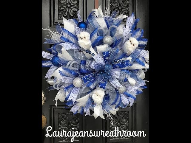 How to make a Blue Christmas wreath in poof and ruffles
