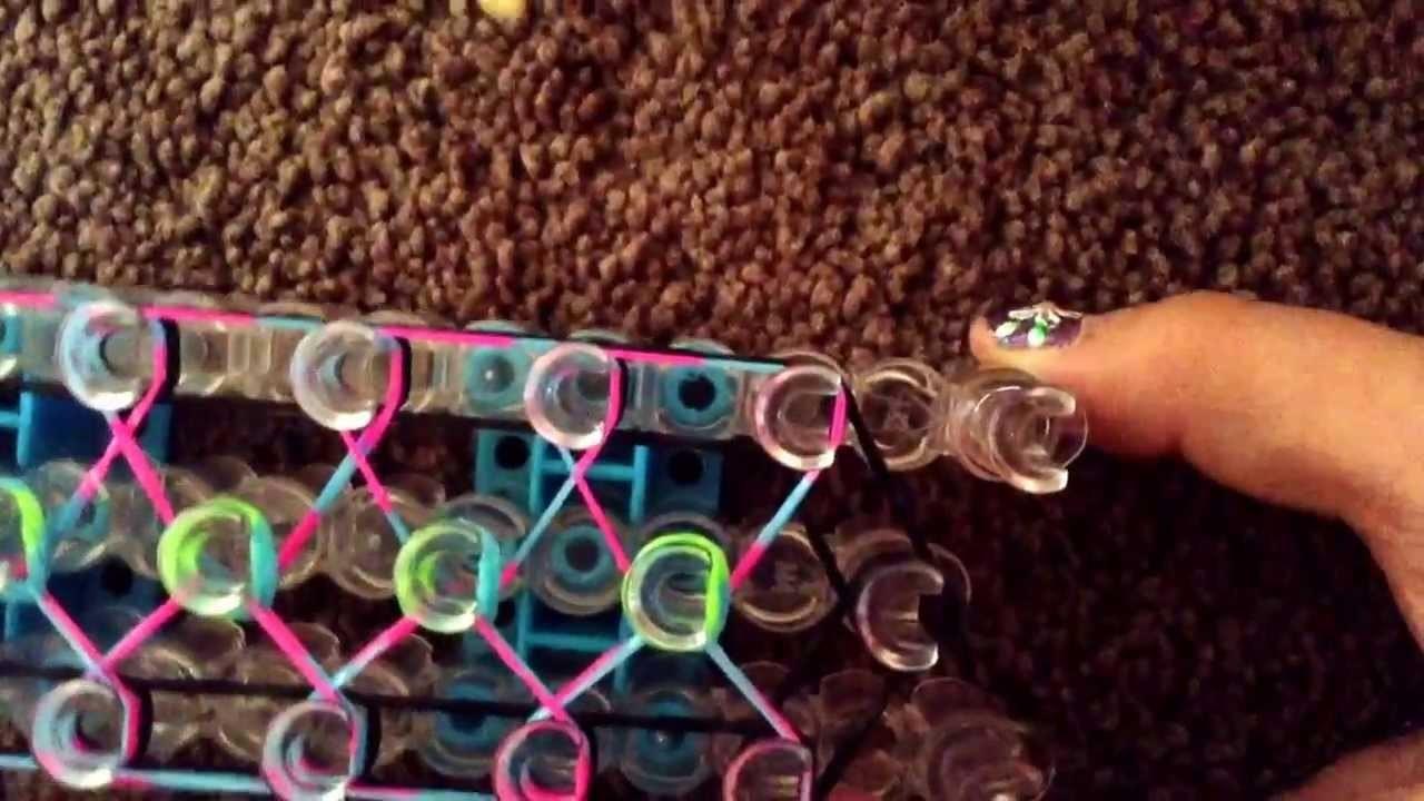 How to make a rainbow loom CONFETTI CRISS-CROSS.   By:Cadin Castillo