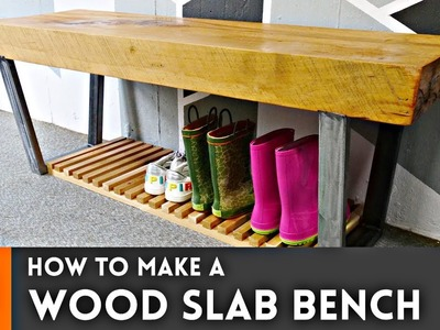How to Make a Wood Slab Bench. Woodworking & Metalworking
