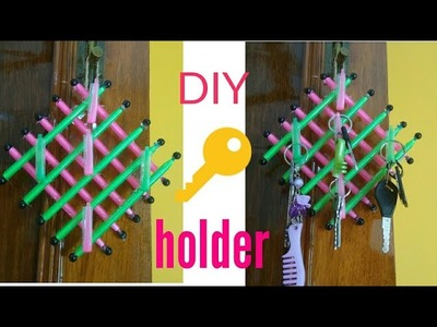 How to make key holder from waste pens || easy DIY || LIFE WITH SAAN