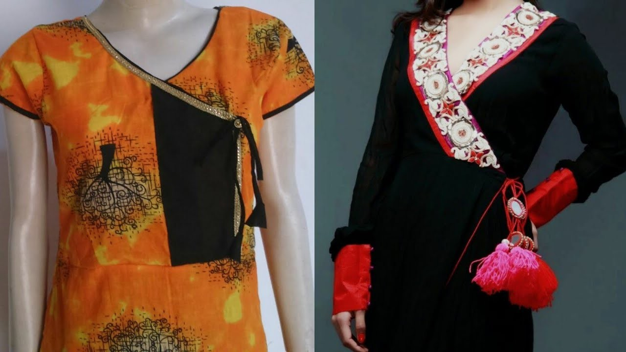 Kurti in angrakha style  how to make kurti in angrakha style step by step tutorial
