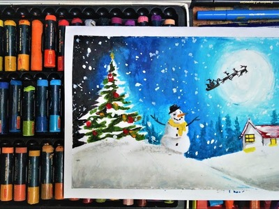 MERRY CHRISTMAS CARD DRAWING || HOW TO DRAW SNOWMAN WITH OIL PASTEL|| CHRISTMAS 2018