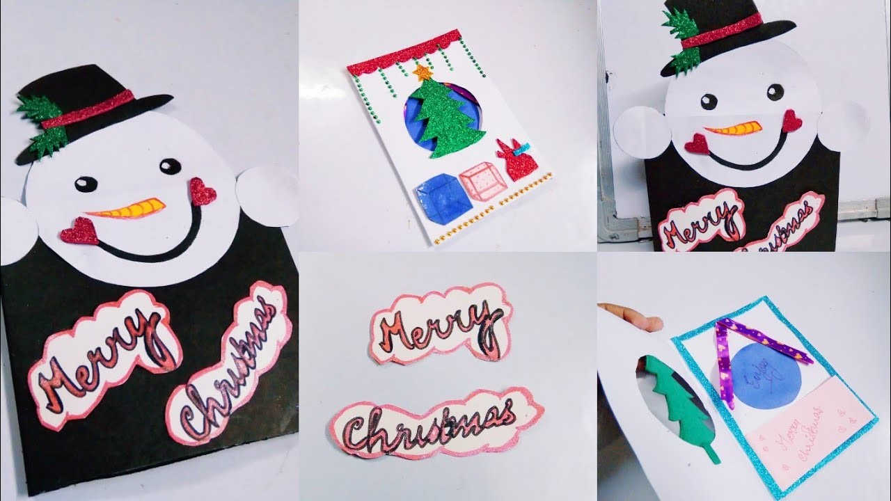 Merry Christmas card for kids | Snow man card | Christmas tree card || Adeeba Abidi
