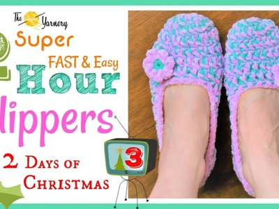 Super FAST & Easy 2 Hour Slippers - How to Crochet Slippers Step by Step Crochet Pattern
