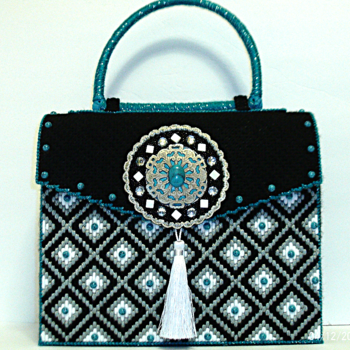 White,Turquoise and Black Bargello Handbag