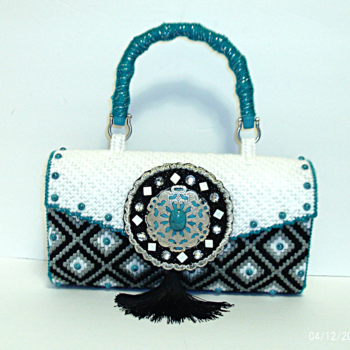White,Turquoise and Black Bargello Purse