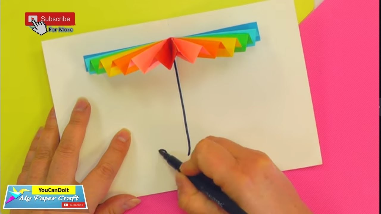 2-Minute for 3D umbrella [Paper Craft for 2 Minute]