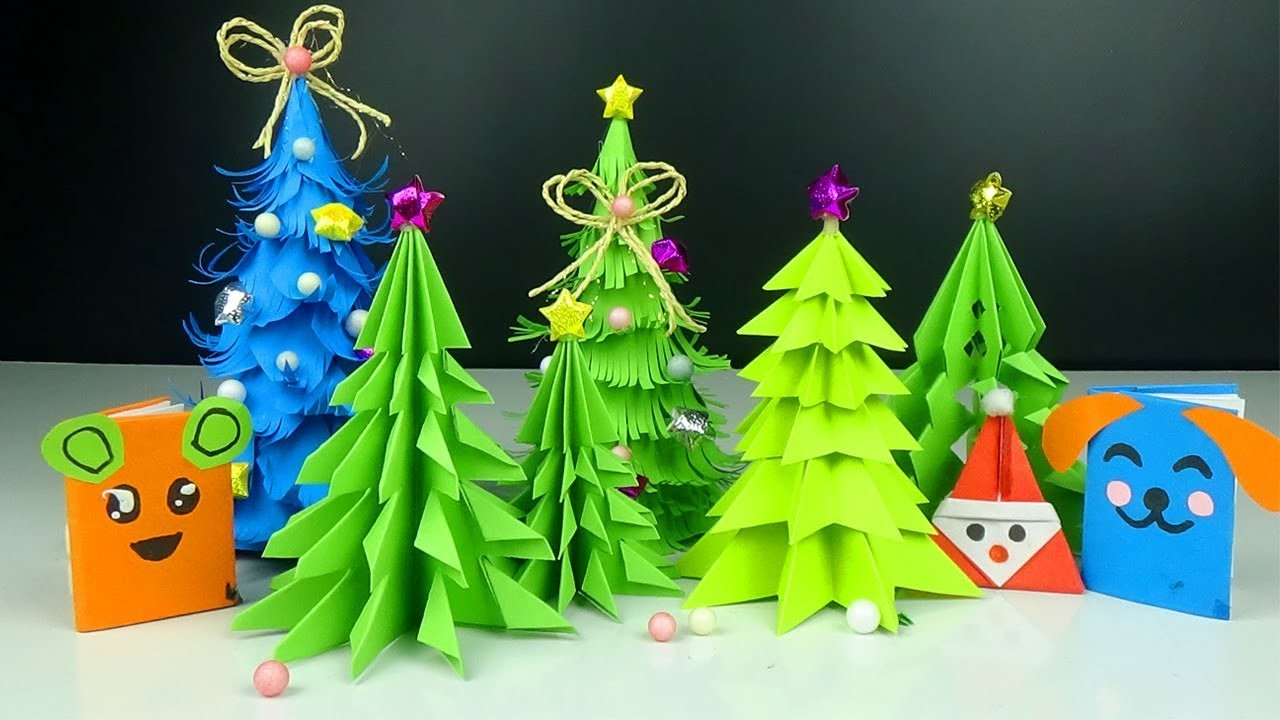 5 DIY Ideas for Christmas Tree Decorations - Easy 3D Paper Christmas Tree - Handmade crafts