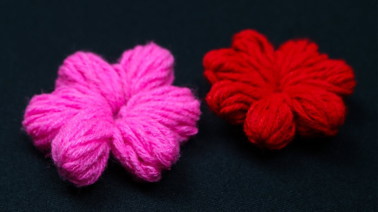Amazing Trick for #Hand embroidery #Woolen Flower Trick with simple way Craft Express #6
