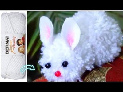 Amazing Woolen Craft Ideas !! how to make pom pom rabbit with woolen