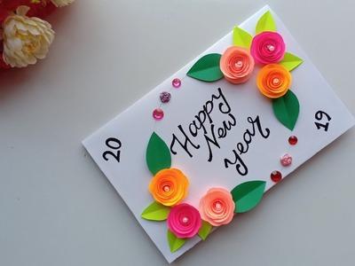 Beautiful Handmade Happy New Year 2019 Card Idea. DIY Greeting  Cards for New Year.