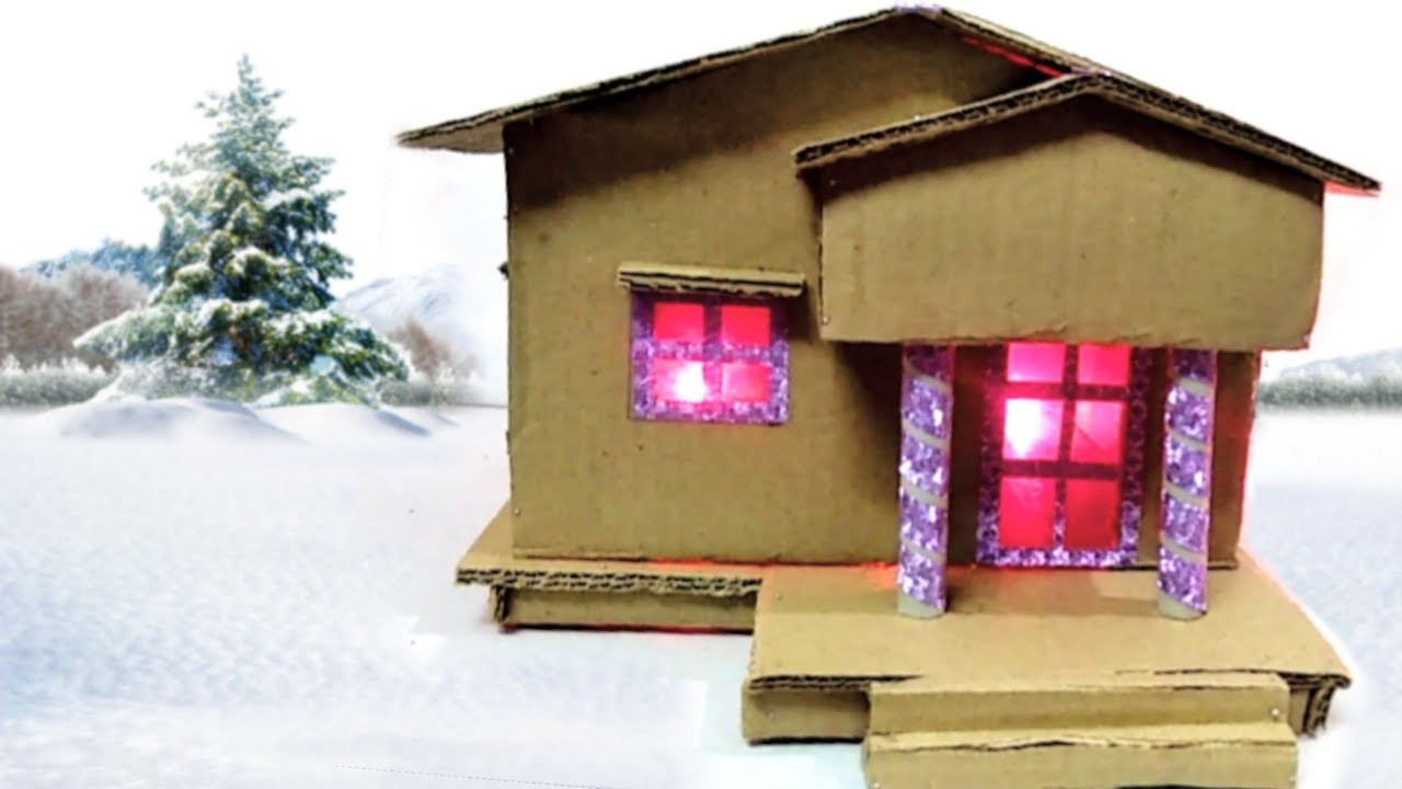 Cardboard House Best Out Of Waste Cardboard Craft Art And Craft