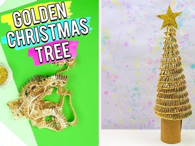 Christmas Craft - Recycled Golden Christmas Tree - Easy 5 Minutes DIY Art and Craft Ideas.