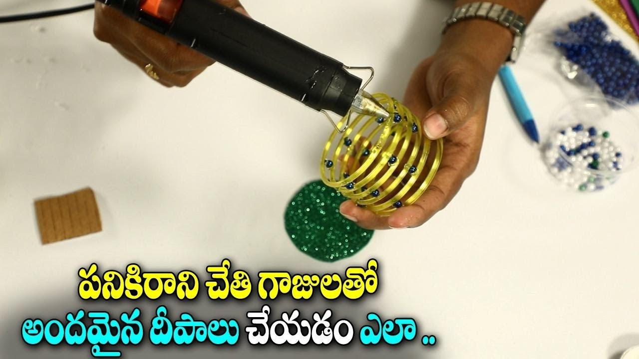 Diwali Special Crafts 2018 Diya Waste Bangles Craft Ideas Best