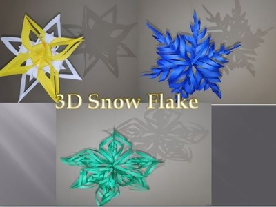 DIY 3D Snowflake Making Tutorial|How to make Paper SnowFlake|New Year Decoration|Art & Cook Channel