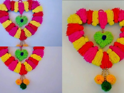 DIY AWESOME WALL HANGING CRAFT MAKING IDEAS || HOW TO MAKE WALL HANGING TORAN WITH WOOLEN ||