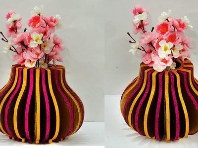 DIY Cardboard Flower Vase Home Decor | Best Out of Waste Cardboard Craft Idea | StylEnrich