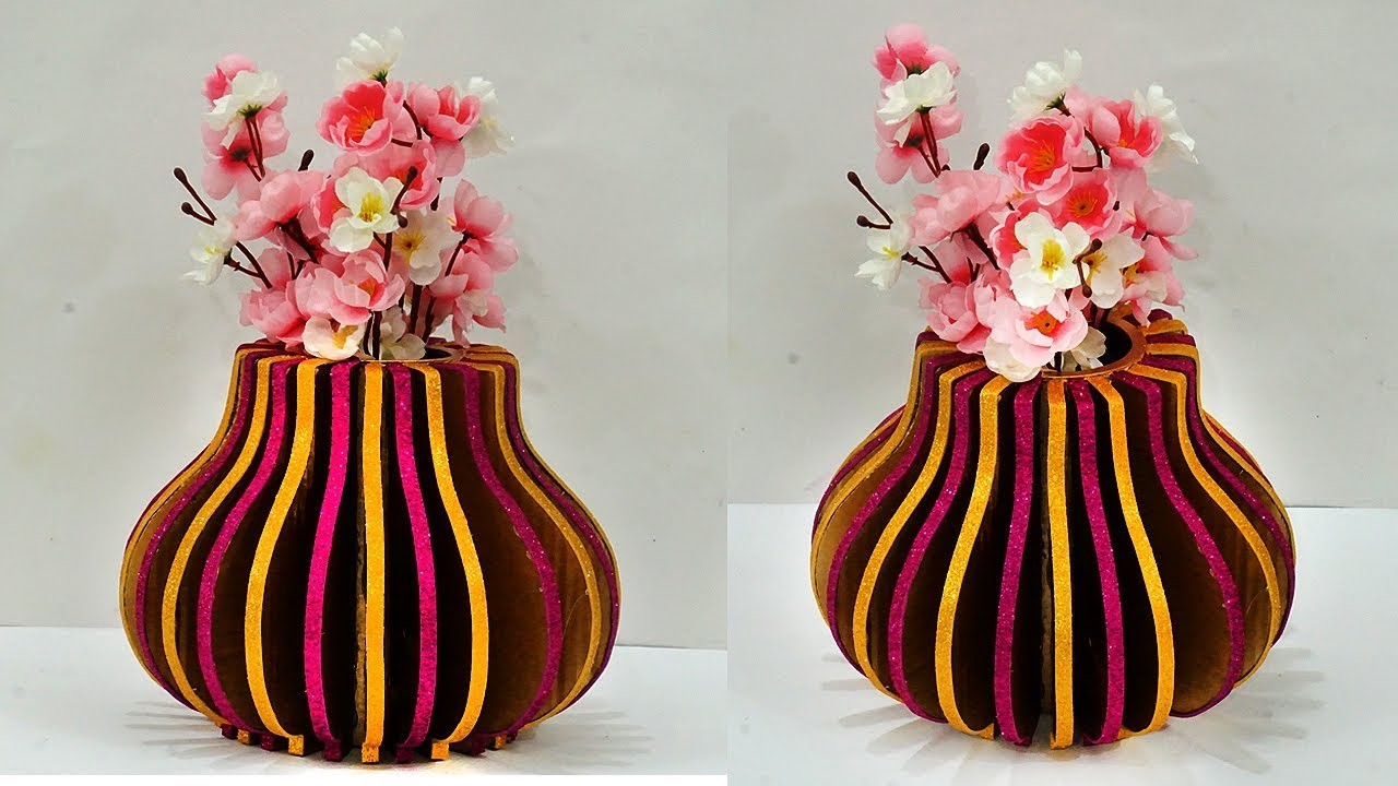 diy home decorating crafts diy cardboard flower vase home decor best out of waste 10766
