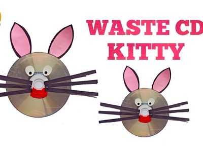 DIY - Cat face by using Waste Cd | kitty toy for kids- Recycle old Cds