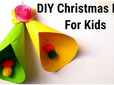 DIY Christmas Bell from paper. Easy Christmas Bell for kids. paper Craft ideas