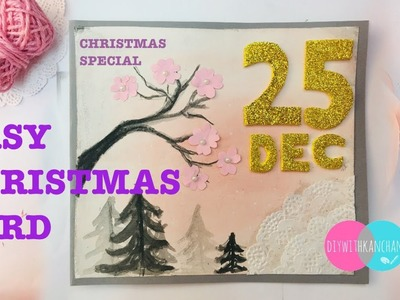 DIY Christmas Card.Handmade Christmas Greeting Card for kids. Christmas Craft for Kids