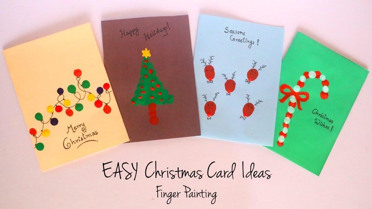 Christmas Card Decorations Ideas.Diy Christmas Card Ideas Easy Finger Painting Handmade