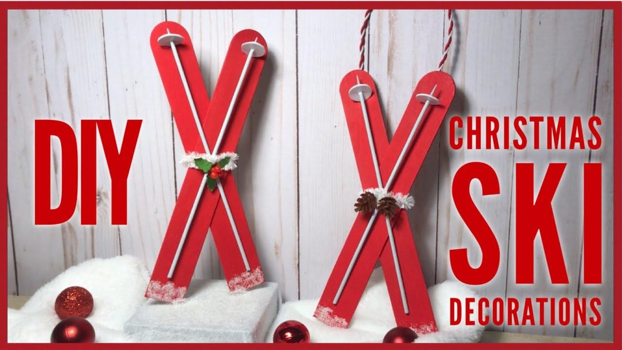 DIY Christmas Ski Decor - Quick & Easy Christmas Ornament. Decoration - Christmas Decor