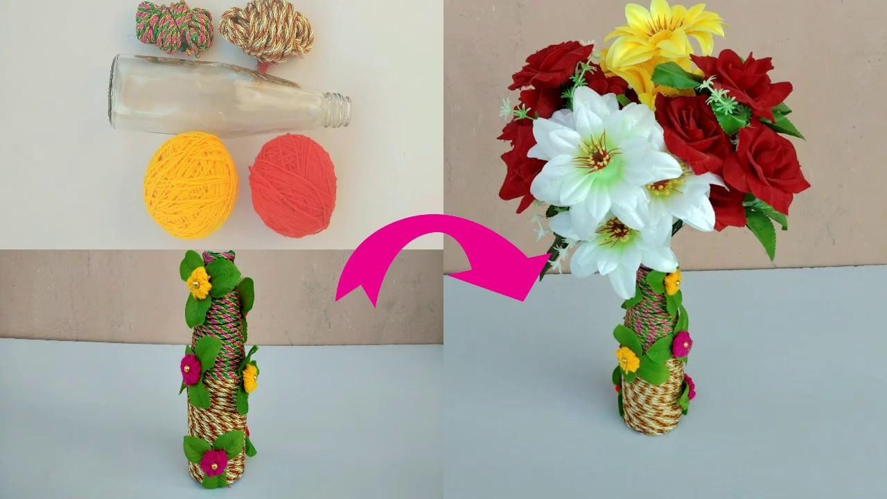 Diy Flower Pot Craft Making Ideas Beautiful Glass Bottle With