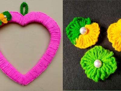 Diy Heart  woolen wall hanging. Woolen craft. Woolen wall hanging. Easy home decor