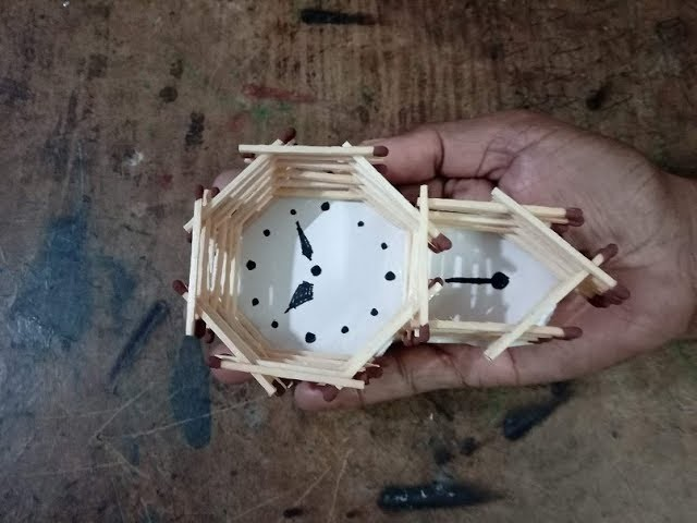 DIY: How to make pendulam wall clock with match sticks- miniature craft
