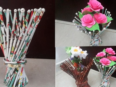 DIY Newspaper Flower Vase ||  Best out of waste Newspaper Craft idea - Easy flower vase