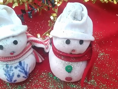 Diy snowman.making easy socks snowman.christmas craft idea for kids. new year decor ideas.
