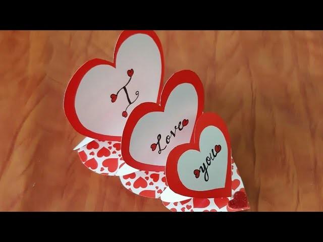 DIY Triple Heart ❤ Easel card |New Year Card | Valentine's Day card | Birthday Card ideas