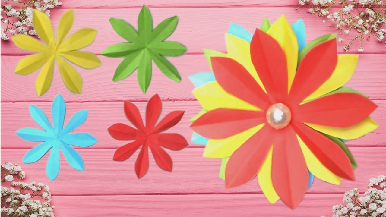 Easy Paper Flower Crafts Diy Paper Flowers Art And Craft With Paper
