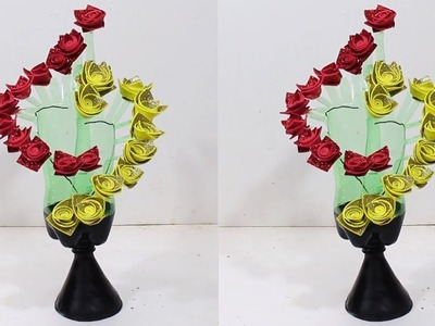 Empty plastic bottle vase making craft | New idea #2 | DBB