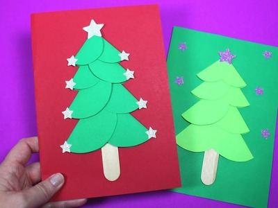 How to Make a Paper Christmas Tree Card | Christmas Card Craft