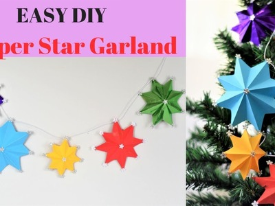 HOW TO MAKE AN EASY PAPER STARS GARLAND~DIY Christmas craft tutorial~room decor
