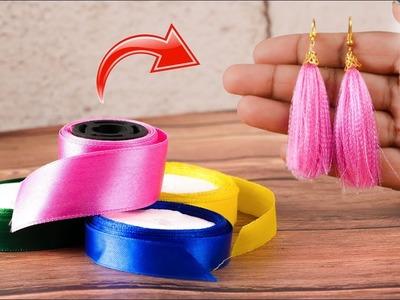 How to Make Tassel Earring From Satin Ribbon | Satin ribbon Craft | Artkala